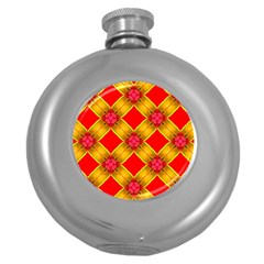 Cute Pretty Elegant Pattern Hip Flask (Round)
