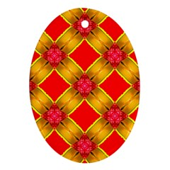 Cute Pretty Elegant Pattern Oval Ornament (Two Sides)