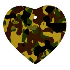 Camo Pattern  Heart Ornament (two Sides)