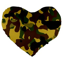 Camo Pattern  19  Premium Heart Shape Cushion by Colorfulart23