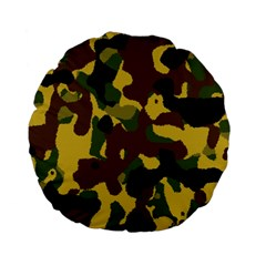 Camo Pattern  15  Premium Flano Round Cushion  by Colorfulart23
