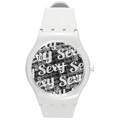 Sexy Text Typographic Pattern Plastic Sport Watch (medium)