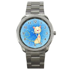 Cute Cat Sport Metal Watch by Colorfulart23