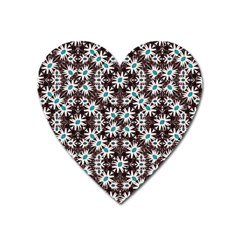 Modern Floral Geometric Pattern Magnet (heart) by dflcprints