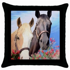 Miwok Horses Black Throw Pillow Case by JulianneOsoske