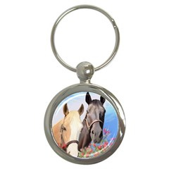 Miwok Horses Key Chain (round) by JulianneOsoske