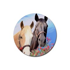 Miwok Horses Drink Coaster (round) by JulianneOsoske