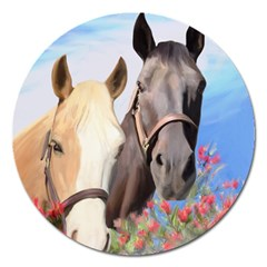 Miwok Horses Magnet 5  (round) by JulianneOsoske