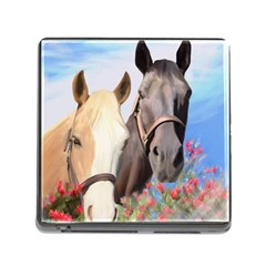Miwok Horses Memory Card Reader With Storage (square) by JulianneOsoske