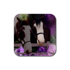 Two Horses Drink Coaster (square) by JulianneOsoske