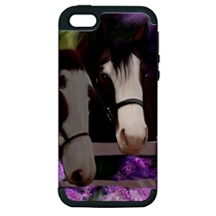 Two Horses Apple Iphone 5 Hardshell Case (pc+silicone) by JulianneOsoske