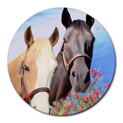 Miwok Horses 8  Mouse Pad (round) by JulianneOsoske