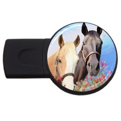 Miwok Horses 2gb Usb Flash Drive (round) by JulianneOsoske