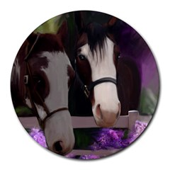 Two Horses 8  Mouse Pad (round) by JulianneOsoske
