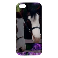 Two Horses Apple Iphone 5 Premium Hardshell Case by JulianneOsoske