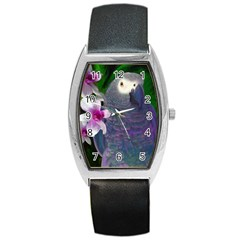 African Grey Parrot Tonneau Leather Watch