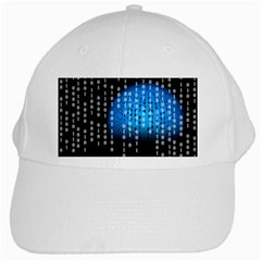 Binary Rain White Baseball Cap