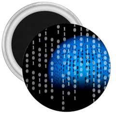 Binary Rain 3  Button Magnet