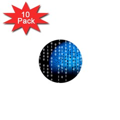 Binary Rain 1  Mini Button Magnet (10 Pack) by StuffOrSomething