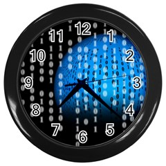 Binary Rain Wall Clock (black)