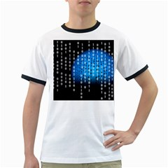 Binary Rain Men s Ringer T Shirt by StuffOrSomething