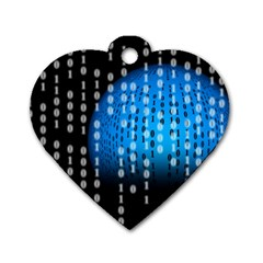 Binary Rain Dog Tag Heart (two Sided)