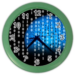 Binary Rain Wall Clock (color)