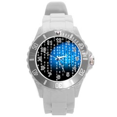 Binary Rain Plastic Sport Watch (large) by StuffOrSomething