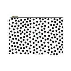 Black Polka Dots Cosmetic Bag (large)