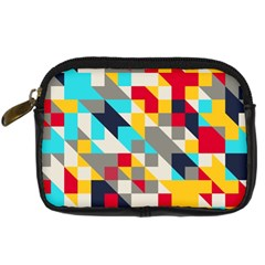 Colorful Shapes Digital Camera Leather Case by LalyLauraFLM