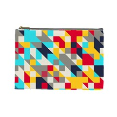 Colorful Shapes Cosmetic Bag (large) by LalyLauraFLM