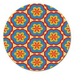 Floral Pattern Magnet 5  (round) by LalyLauraFLM