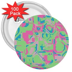 Pastel Chaos 3  Button (100 Pack) by LalyLauraFLM