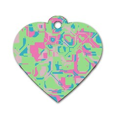 Pastel Chaos Dog Tag Heart (two Sides) by LalyLauraFLM