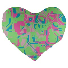 Pastel Chaos Large 19  Premium Heart Shape Cushion by LalyLauraFLM