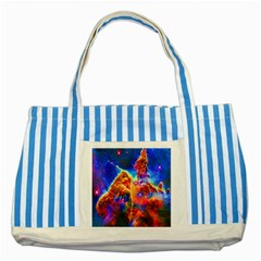 Cosmic Mind Blue Striped Tote Bag by icarusismartdesigns