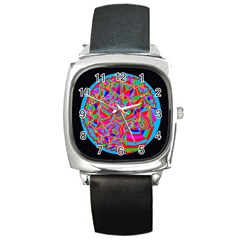 Magical Trance Square Leather Watch by icarusismartdesigns
