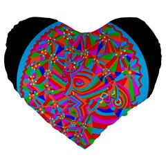 Magical Trance Large 19  Premium Flano Heart Shape Cushion by icarusismartdesigns
