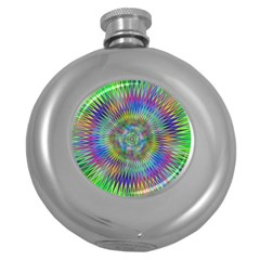 Hypnotic Star Burst Fractal Hip Flask (round) by StuffOrSomething