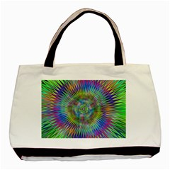 Hypnotic Star Burst Fractal Twin Sided Black Tote Bag by StuffOrSomething