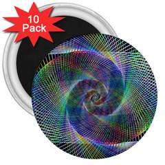 Psychedelic Spiral 3  Button Magnet (10 Pack) by StuffOrSomething