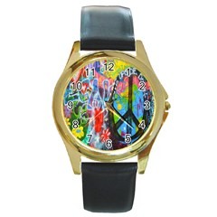 The Sixties Round Leather Watch (gold Rim)  by TheWowFactor