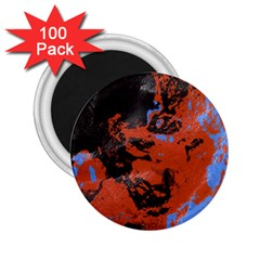 Orange Blue Black Texture 2 25  Magnet (100 Pack)  by LalyLauraFLM