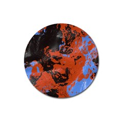 Orange Blue Black Texture Magnet 3  (round) by LalyLauraFLM