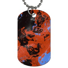 Orange Blue Black Texture Dog Tag (two Sides) by LalyLauraFLM