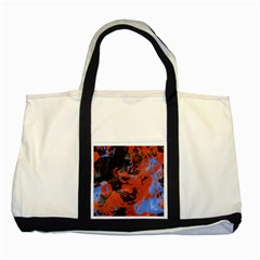Orange Blue Black Texture Two Tone Tote Bag by LalyLauraFLM