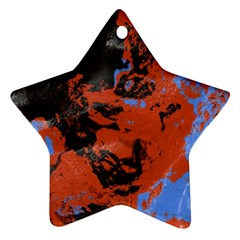 Orange Blue Black Texture Star Ornament (two Sides)