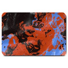 Orange Blue Black Texture Large Doormat by LalyLauraFLM