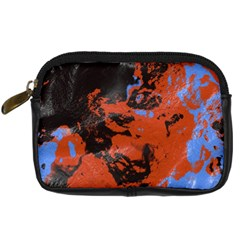 Orange Blue Black Texture Digital Camera Leather Case by LalyLauraFLM