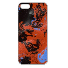 Orange Blue Black Texture Apple Seamless Iphone 5 Case (clear) by LalyLauraFLM